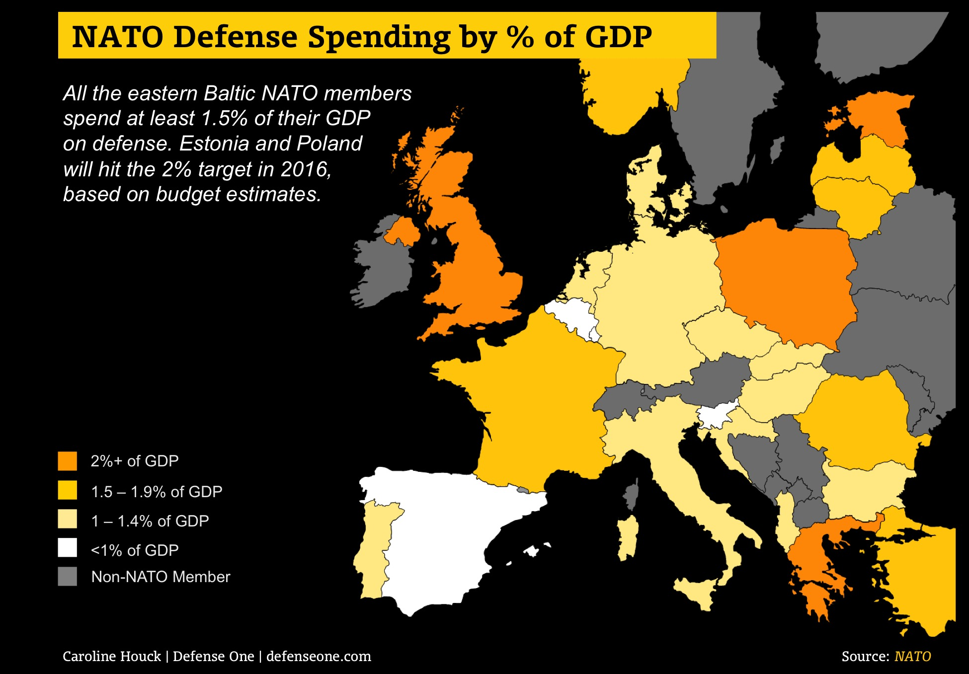 Map of NATO spending by country with 2016 budget estimates.
